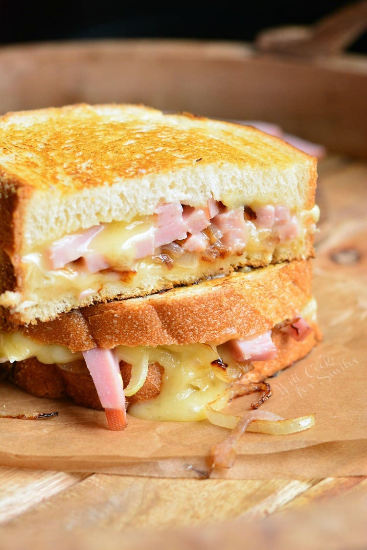 Grilled ham and brie cheese sandwich. from willcookforsmiles.com