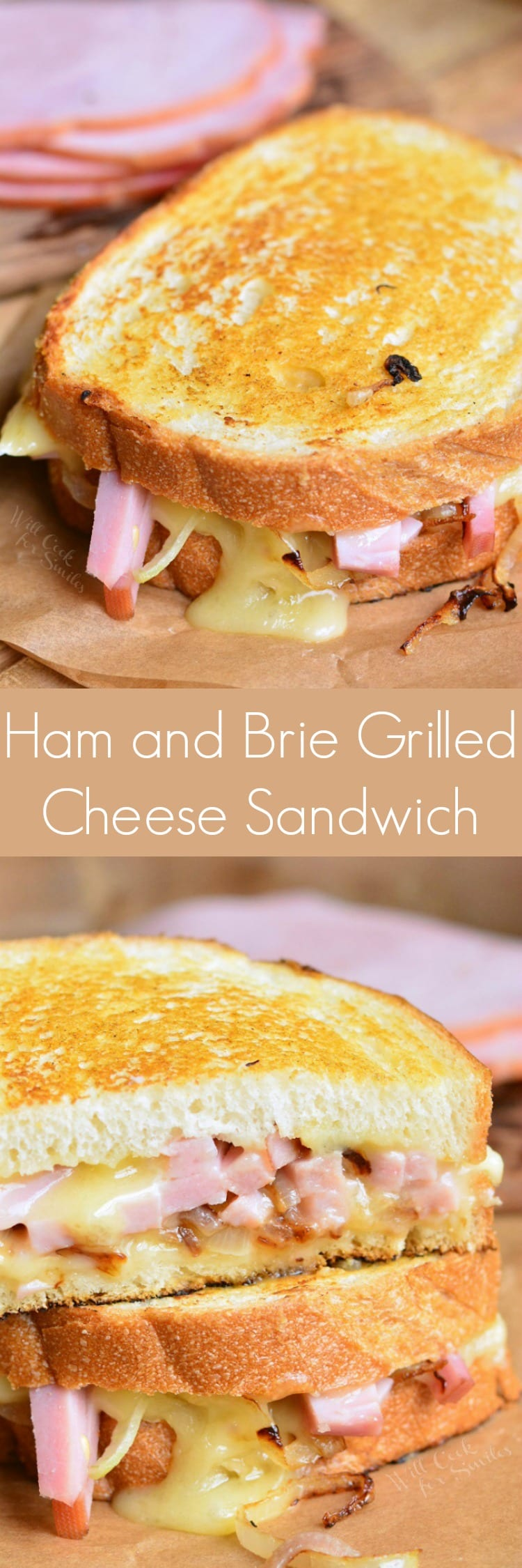 Grilled ham and brie cheese sandwich. Fantastic grilled cheese sandwich made with ham, brie cheese, sauteed onion, and a bit of maple mustard glaze. #leftoverham # grilled cheese