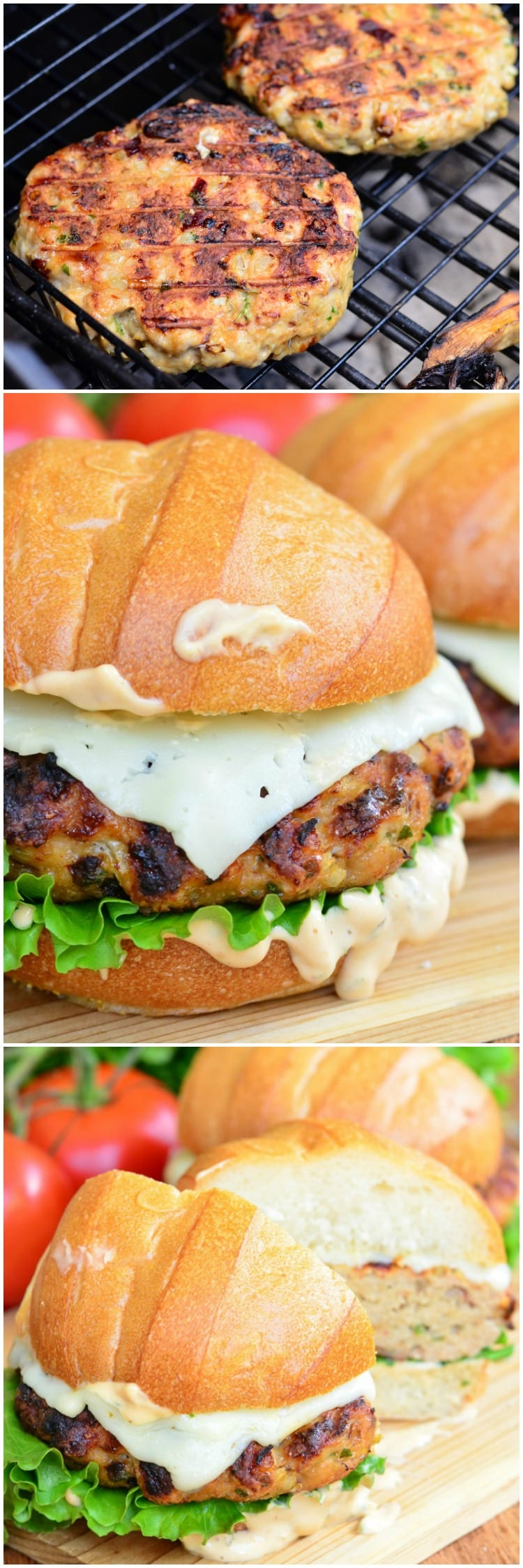 Chicken burger with spicy chipotle. Wonderful, tasty and juicy burger perfect for a weekend barbecue or a midweek dinner. # hamburger # chicken