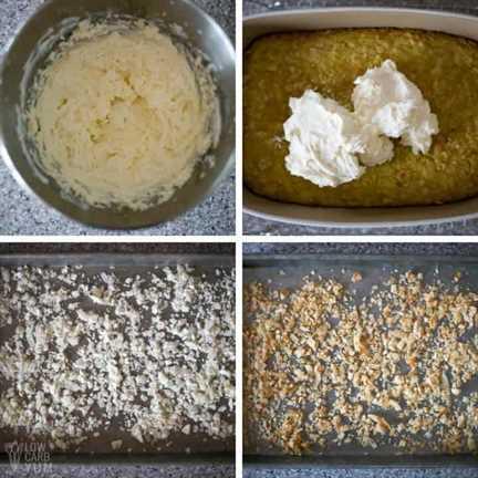glaseado de queso crema keto y coberturas de coco tostado