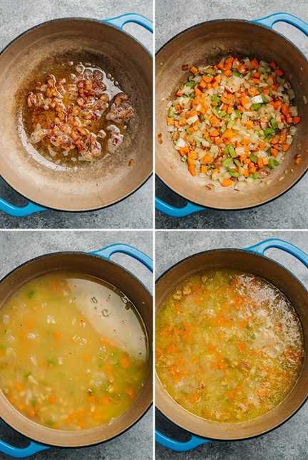 Cuatro disparos para mostrar cómo preparar la sopa en un horno holandés