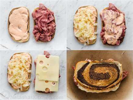 Collage detallado paso a paso sobre cómo hacer una receta tradicional de Sandwich Reuben.