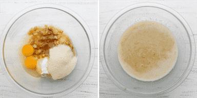 Procese tomas que muestren los ingredientes húmedos antes y después de mezclar