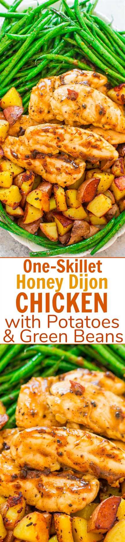 One-Skillet Honey Dijon Chicken, Green Beans and Potatoes - ¡Una receta FÁCIL de una sartén que está lista en 20 minutos! ¡Pollo jugoso, papas crujientes y judías verdes tiernas y crujientes para ganar! ¡Ideal para entretenidas noches de semana o citas nocturnas!