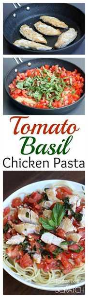 Receta de pasta de pollo con tomate y albahaca de Tastes Better From Scratch