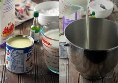 leche condensada, crema espesa, coco joven rallado y extracto de pandan