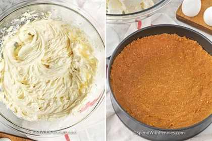relleno de tarta de queso cremoso preparado en un tazón y una corteza de graham en una sartén lista para ser rellenada