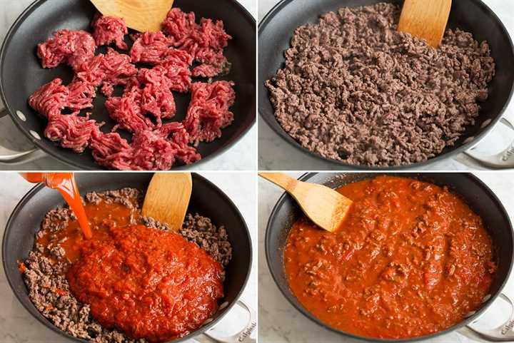 Pasos que muestran cómo hacer la salsa de lasaña en una sartén.