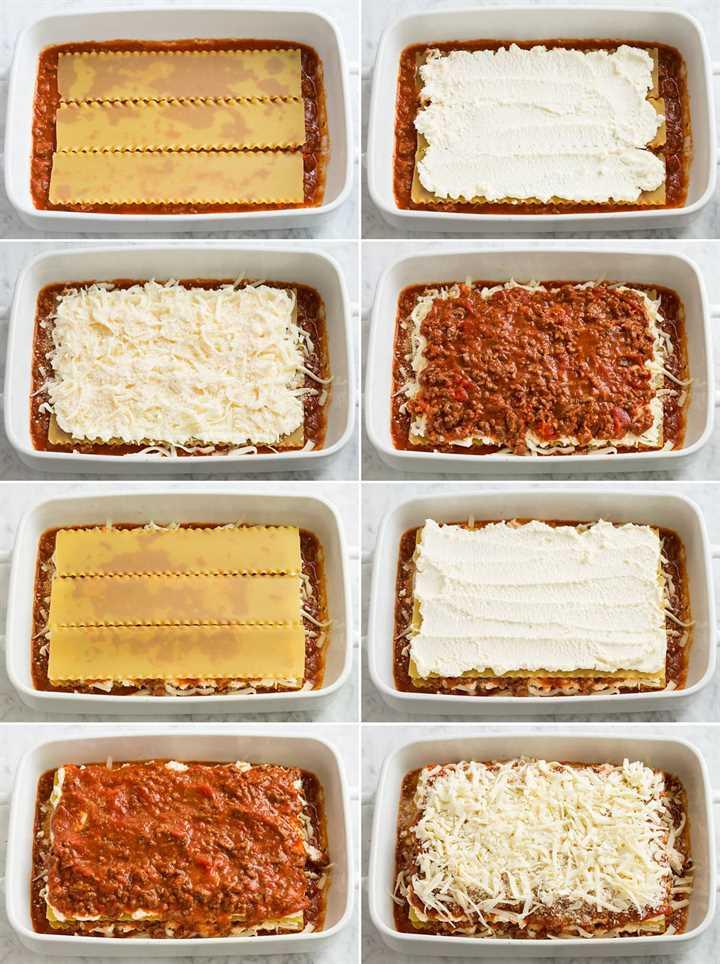 Imagen que muestra ocho pasos de estratificación de lasaña fácil. Incluye capas de fideos de lasaña, quesos, salsa y repetición.