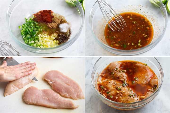 Imagen que muestra los pasos para preparar la marinada de pollo, cortar las pechugas de pollo en chuletas y remojar las pechugas en la marinada en un recipiente de vidrio.
