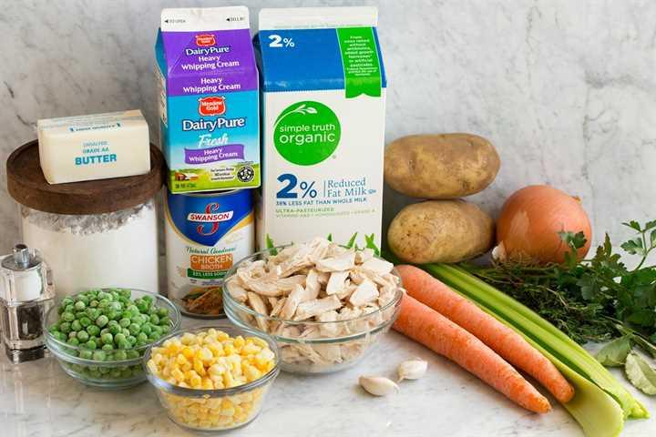 Imagen que muestra los ingredientes necesarios para hacer una sopa de pastel de pollo que incluye leche, crema, caldo de pollo, harina, mantequilla, guisantes, maíz, pollo, zanahorias, apio, papas, cebolla, ajo y hierbas frescas.
