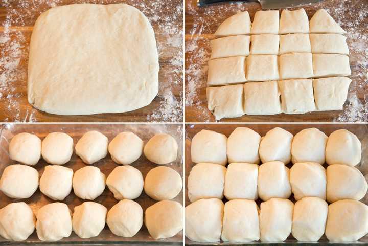 Imagen que muestra los pasos para rodar, cortar y dar forma a los panecillos, luego se muestra después de levantarse.