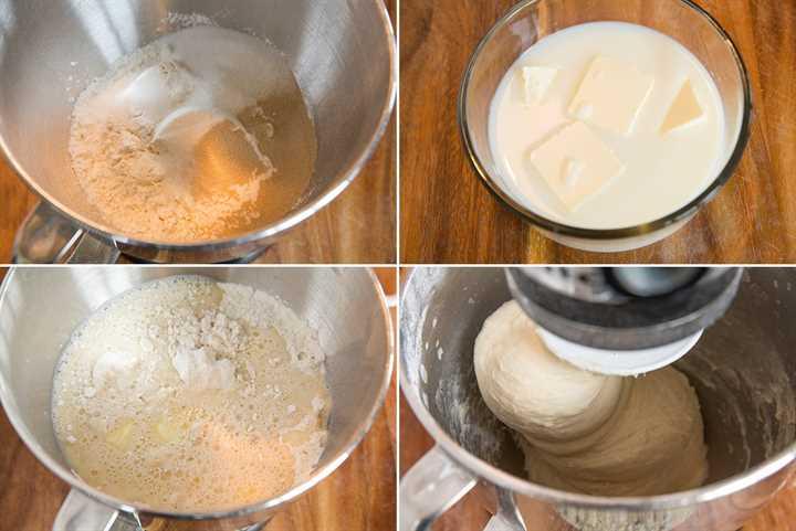 Imagen que muestra los pasos para preparar la masa para panecillos.