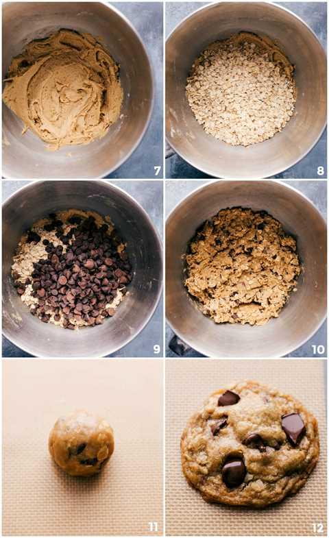 Procese tomas: imágenes de la avena y las chispas de chocolate que se agregan a la masa y se mezclan y luego se enrollan en una bola y se colocan en una bandeja para hornear.