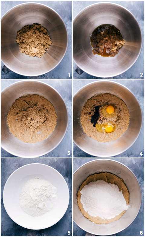 Procesar tomas: imágenes de la masa de galleta que se prepara y se mezcla con todos los ingredientes