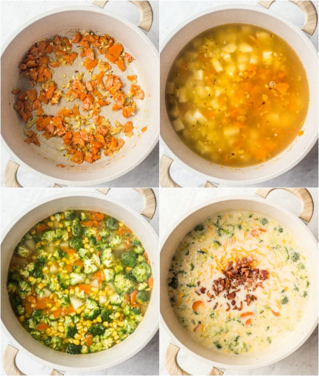 Imagen paso a paso de cómo preparar esta cremosa receta de sopa de verduras en un horno holandés.