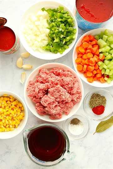 Ingredientes de la sopa de hamburguesas IP Sopa de hamburguesas Instant Pot