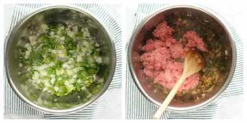 paso 1 Sopa de hamburguesa IP Sopa de hamburguesa instantánea