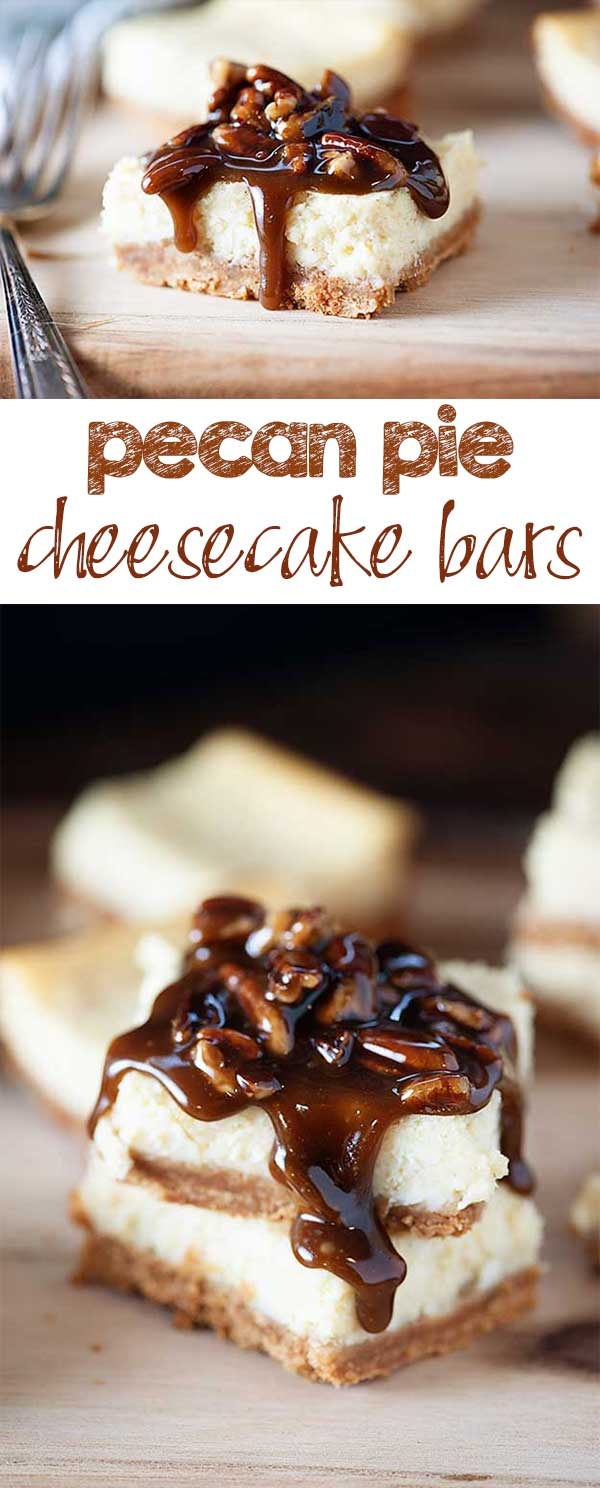 Pecan Pie Cheesecake Bars - Creamy cheesecake with a thick, sweet pecan pie topper.