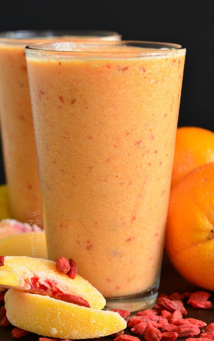 Creamy smoothie of peach and Goji berries. This smoothie is loaded with peaches, goji berries, bananas, silk almond milk, and a little orange juice.