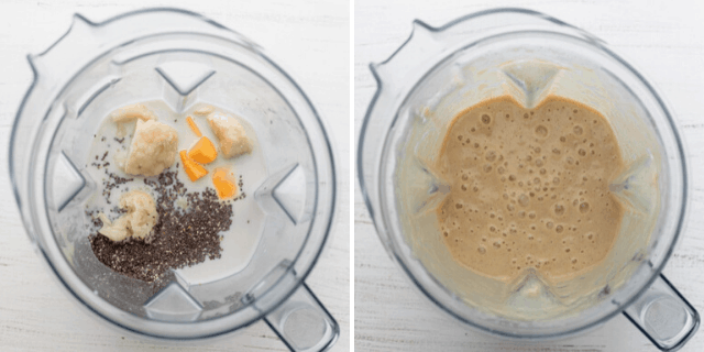 Process shots to show how to make the smoothie in the blender before and after mixing