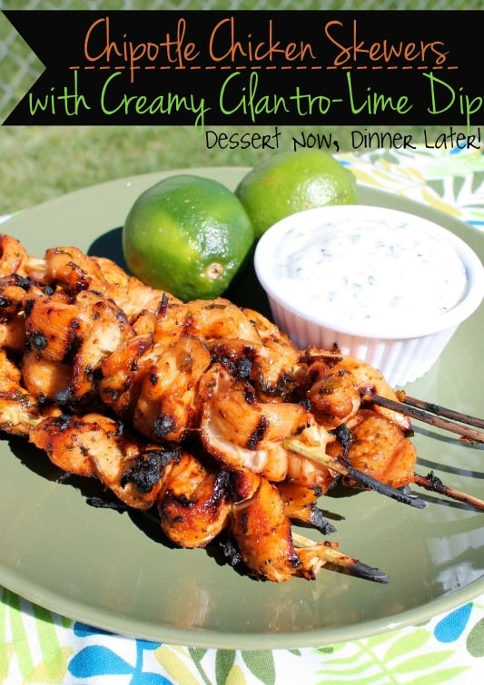Chipotle chicken skewers with creamy lime and coriander sauce