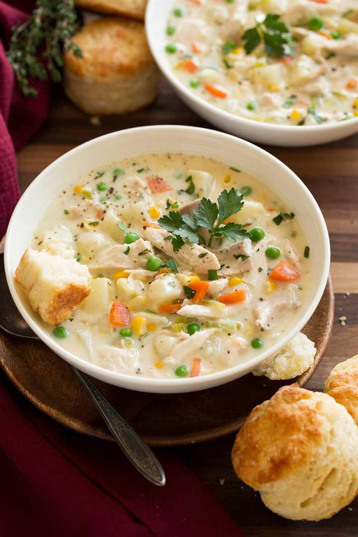 Dos cuencos de sopa de pastel de pollo en blanco servir platos sobre una mesa de madera. Las galletas se sirven a un lado.