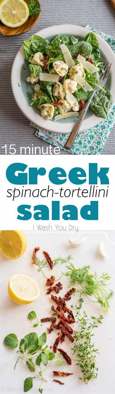 Me encanta esta rápida y fácil ensalada griega de espinacas y tortellini. ¡Los sabores son geniales juntos!