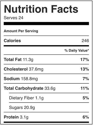 Información nutricional en estas galletas de chocolate con mantequilla marrón