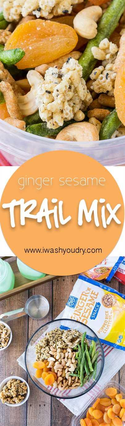 Este Ginger Sesame Trail Mix de inspiración asiática es una divertida combinación de la merienda más nueva de Soy Vay: racimos de arroz reventado junto con frutas secas y nueces. ¡Perfecto para picar sobre la marcha!