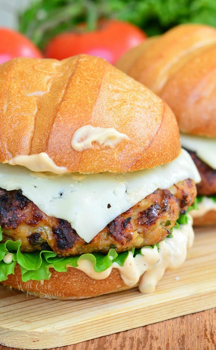 Chicken burger with spicy chipotle. Wonderful, tasty and juicy burger perfect for a weekend barbecue or a midweek dinner.