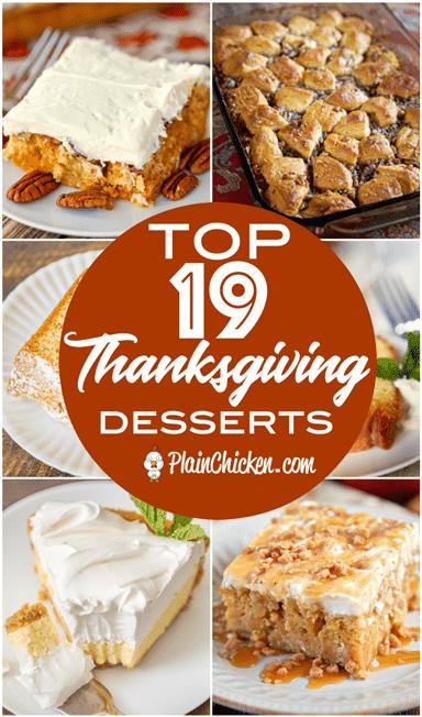Los 19 mejores postres de Acción de Gracias: las mejores recetas de postres para su comida festiva. La mayoría de las recetas se pueden hacer con anticipación. Me encantan los ahorradores de tiempo como estos! Tartas, pasteles, tartaletas, tartas de queso, algo para todos. #dessert #thanksgiving