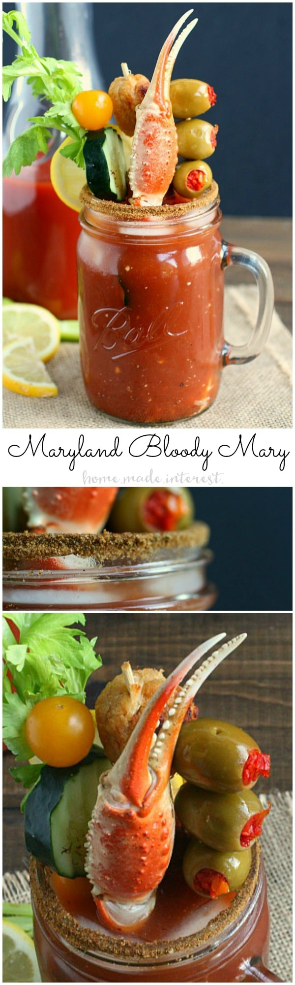 This easy and simple homemade Bloody Mary recipe is the best you have ever tried. Adding a twist to a classic recipe and turning it into a Maryland Bloody Mary. A Bloody Mary bar would be a great brunch idea for a wedding or vacation.