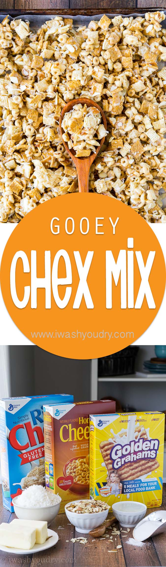 We love this Gooey Chex Mix recipe for snacks and parties!