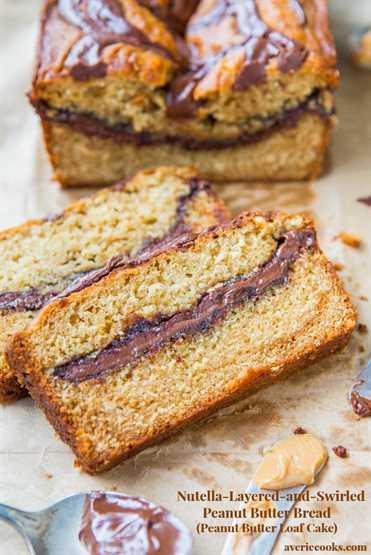 Pão de Manteiga de Amendoim em Camadas de Nutella Swirl {Bolo de Pão de Manteiga de Amendoim} - Pão fácil e sem mistura, cozido em uma forma de bolo! Receita em averiecooks.com