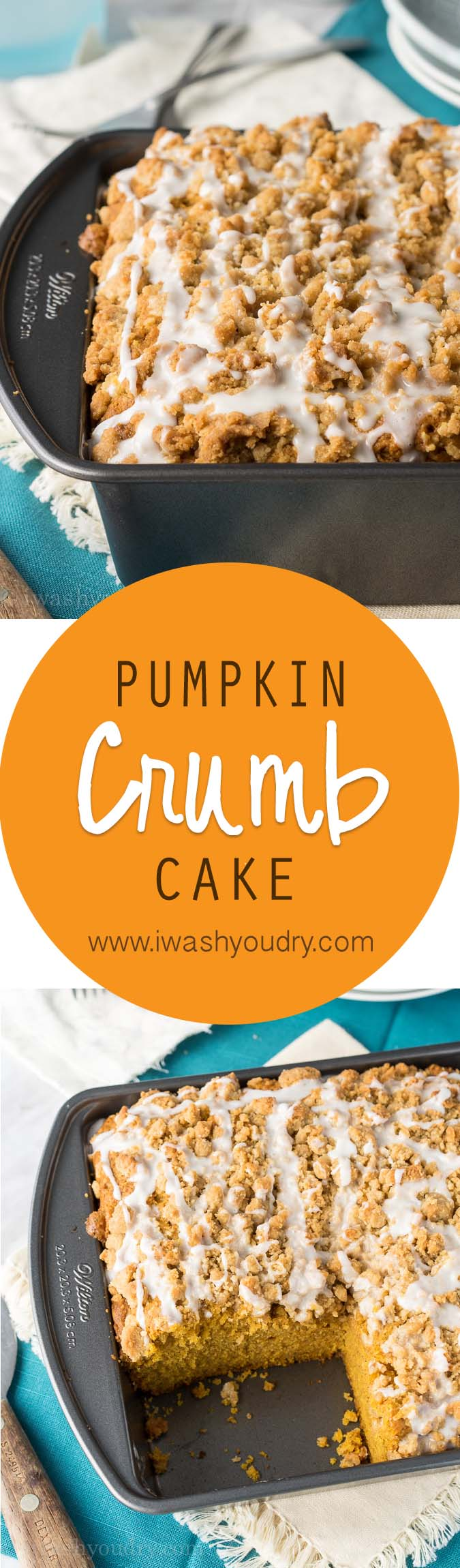 The smoothest, most delicious pumpkin crumb pie with a sweet icing drizzled over lots of yummy crumbs! What a great cake for this fall!
