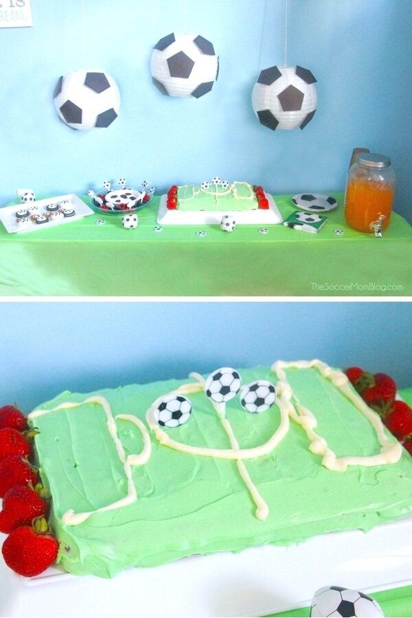 Your little soccer star will LOVE this soccer birthday cake, and you'll love how easy it is to prepare! Skip the expensive bakery cakes for this tasty homemade football field-like cake!