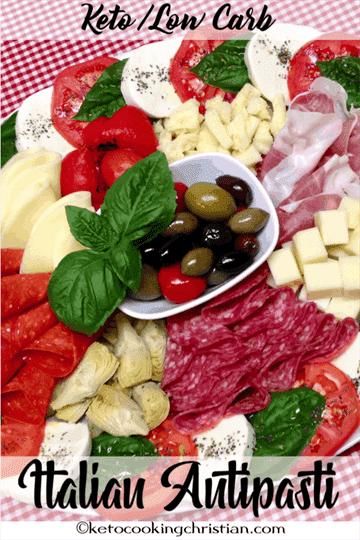 Plato italiano antipasti - Keto y bajo en carbohidratos