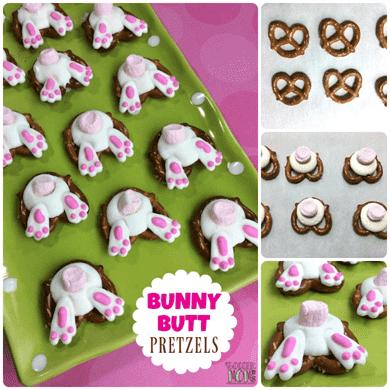 Una receta fácil de Pascua que los niños de todas las edades pueden ayudar a hacer: ¡los pretzels Bunny Butt son adorables y deliciosos! Perfecto para fiestas o regalos de postre.