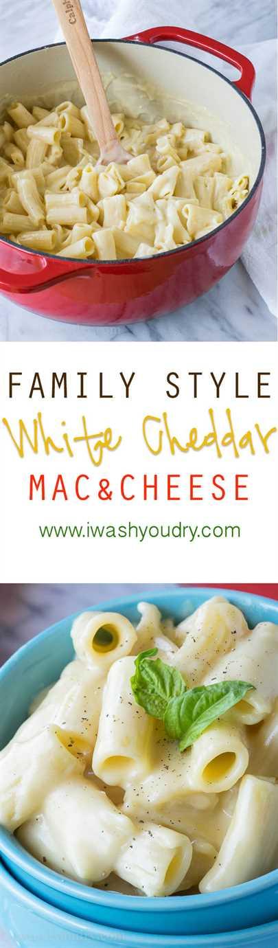 ¡Estilo familiar blanco Cheddar Mac y queso! ¡La salsa de queso sedoso está fuera de este mundo!