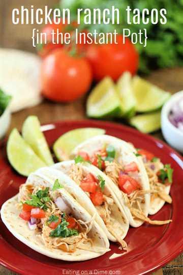 Obtenga una cena rápida en la mesa con Instant Pot Chicken Ranch Tacos Recipe. Solo necesita 4 ingredientes para la receta Easy Chicken Ranch Tacos. Tan sabroso!