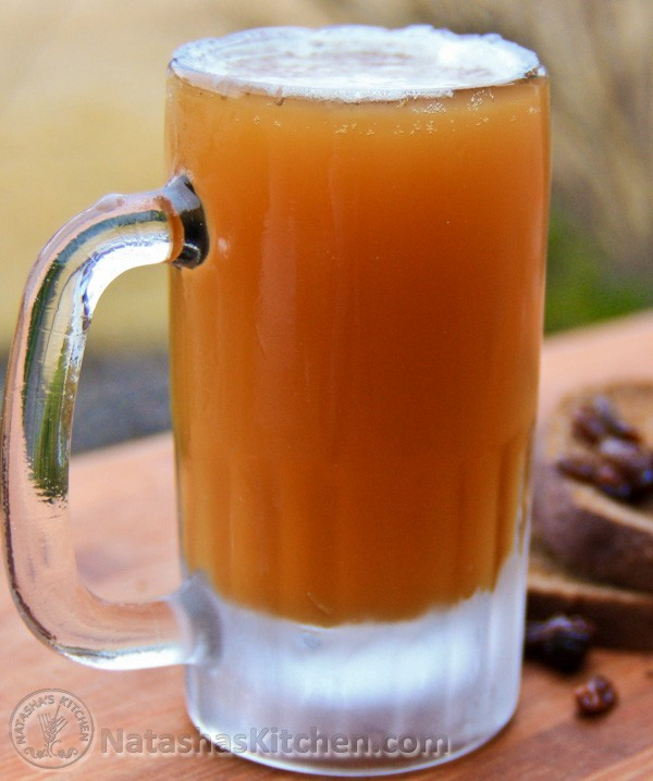 Bread Kvas is very popular in Russia and Ukraine. You can compare it to a sweet, alcohol-free beer. Enjoy it cold on a hot summer day.