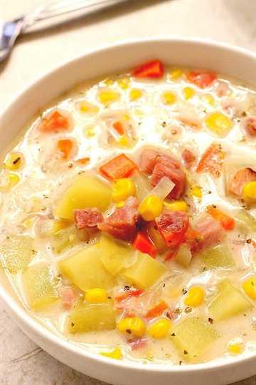 sopa de jamón, papa y maíz una receta de sopa de jamón, papa y maíz