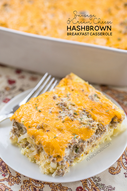 Hashbrown Sausage and Cream Cheese Breakfast Casserole - All my favorite breakfast foods in an easy saucepan! Frozen potato chips, sausages, cream cheese, eggs, and cheddar cheese. You can make ahead and refrigerate or freeze for later. You can divide it between two trays and bake one and freeze one for later. This breakfast casserole is great for breakfast, lunch, great for brunch, lunch, dinner and any next vacation breakfast! SO GOOD!