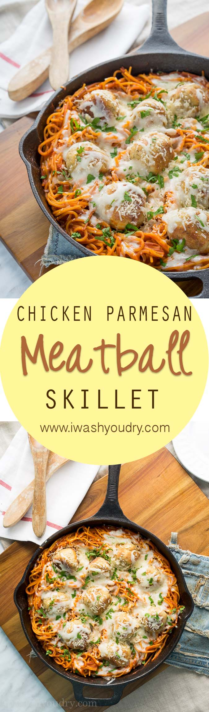Such a fun twist on the classic! This skillet of chicken and parmesan dumplings only uses one skillet for the entire dish! Even the pasta is cooked there!