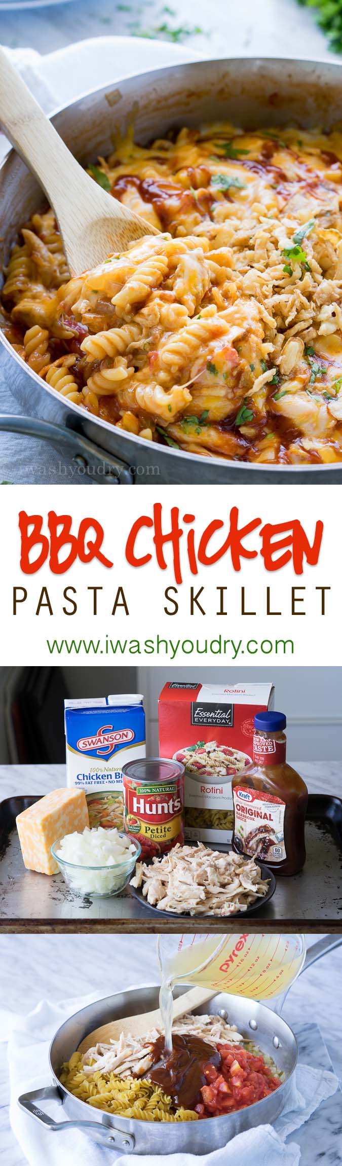 This cheesy BBQ Chicken Pasta skillet is so easy to make! The pasta is cooked in the pan!