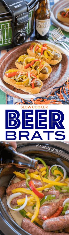 Slow Cooker Beer Brats: ¡comida perfecta para comer! Simplemente tira todo en la olla de cocción lenta y deja que haga su magia. ¡También puede servir fuera de la olla de cocción lenta! ¡TAN fácil y los mocosos saben increíble! Mocosos, cerveza, cebolla, pimientos, sal, pimienta, Worcestershire y ajo. Un verdadero deleite de la multitud!