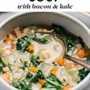 Imagen de Pinterest para sopa de frijoles blancos con tocino y col rizada.