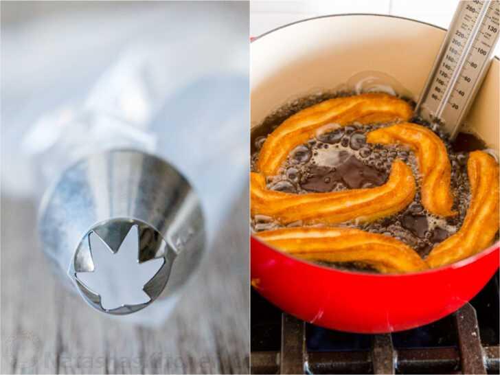 Wilton 1M punta de hojaldre en bolsa de hojaldre y olla equipada con termómetro con churros freír en aceite