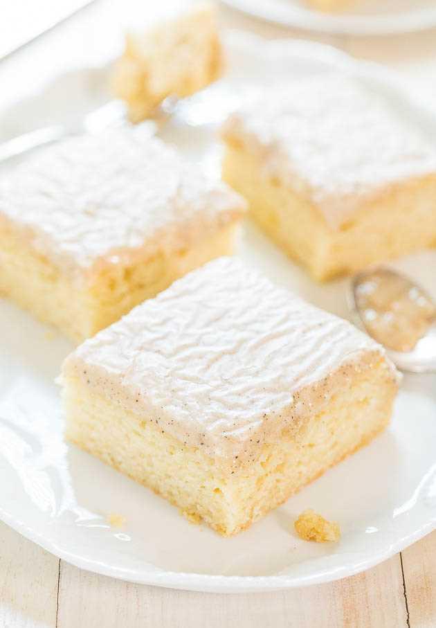 zero vanilla cake slices on white tray
